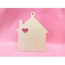 4mm MDF House 150mm in size with heart cut out
